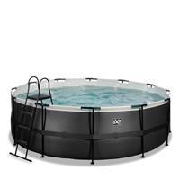 EXIT Black Leather opzetzwembad met filterpomp zwart ø427x122cm