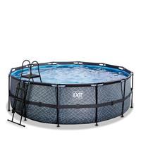 EXIT Stone opzetzwembad met filterpomp grijs ø427x122cm