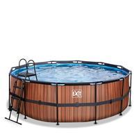 EXIT Wood opzetzwembad met filterpomp bruin ø427x122cm
