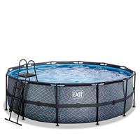EXIT Stone opzetzwembad met filterpomp grijs ø450x122cm