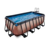 Wood opzetzwembad met filterpomp bruin 400x200x122cm