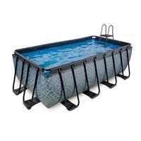 EXIT Stone opzetzwembad met filterpomp grijs 400x200x122cm