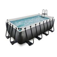 EXIT Black Leather opzetzwembad met filterpomp zwart 400x200x122cm