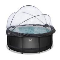 Black Leather opzetzwembad met overkapping en zandfilterpomp zwart ø360x122cm