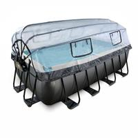 Black Leather opzetzwembad met overkapping en zandfilterpomp zwart 400x200x122cm