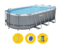 Bestway Power Steel Oval zwembad - 427 x 250 x 100 cm - met filterpomp en accessoires