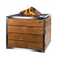 Happycocooning Happy : CT Stainless Steel/Teak Lounge Dining Vierkant - zwart