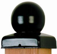 Paalornament zwart bol voor tuinpaal 91mm