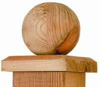 Paalornament hout bol voor tuinpaal 80mm