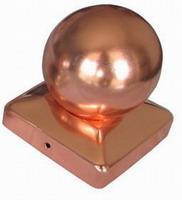 Paalornament koper bol voor tuinpaal 91mm