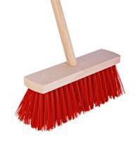 Talen Tools Bezem rood 28 cm met beugel en houten steel 120 cm