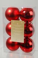 6 kerstballen kerstrood 80 mm