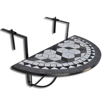VidaXL Balkontafel hangend mozaek zwart-wit half-rond