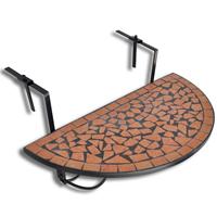 VidaXL Balkontafel hangend mozaek terracotta half-rond