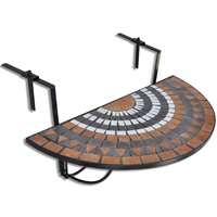 VidaXL Balkontafel hangend mozaek terracotta-wit half-rond