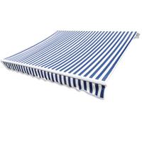 vidaXL Canvas zonnescherm met luifel 4x3 m blauw wit frame niet inbegrepen