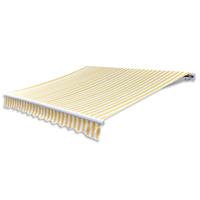 vidaXL Zonneschermdoek canvas zonder frame 4x3 m geel en wit