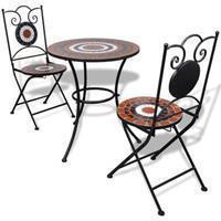 VidaXL Bistrotafel met 2 stoelen 60 cm mozaïek terracotta/wit