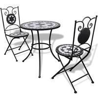 VidaXL Bistrotafel met 2 stoelen 60 cm mozaïek zwart/wit