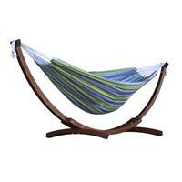 Doppelhängematte aus Baumwolle mit stabilem Bogengestell aus Massivkiefernholz – Tropical bunt