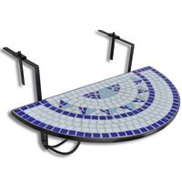VidaXL Balkontafel hangend mozaek blauw-wit half-rond