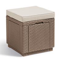 Allibert Cube multifunctionele voetenbank cappuccino met kussen