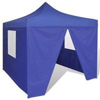 VidaXL Vouwtent met 4 zijwanden 3x3 m blauw