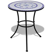 VidaXL Mozaektafel 60 cm blauw/wit