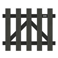 Tuinhek poort composiet Luxe antraciet met antraciet aluminium frame (100 x 80 cm) incl. beslag