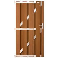 Tuindeur composiet Design Bruin met blank aluminium frame compleet (90 x 180 cm)