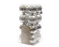 Kerstbal plastic glans-mat 40mm zilver