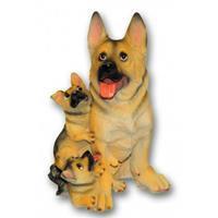 Bellatio Honden beeldje Duitse Herder met puppies 35 cm