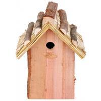 Bellatio Houten vogelhuisje met rieten dakje 18x27 cm
