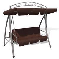 vidaXL Schommelstoel voor buiten met luifel en versiering koffiekleur