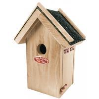 Bellatio Houten vogelhuisje met bitumen dakje 16x22 cm