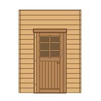 Solid carport voorwand S7733 enkele deur 210x240cm