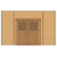 Solid carport voorwand S7738 dubbele deur 390x245cm