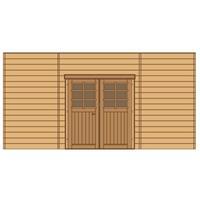 Solid carport voorwand S7745 dubbele deur 480x245cm