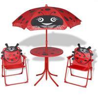 VidaXL Bistroset met parasol voor kinderen rood