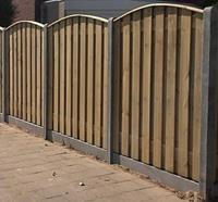 Schutting hout beton per complete set 200x190cm 15pl. toog