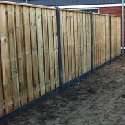 Hout beton schutting antraciet 15 planks complete set