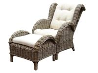 AVH-Outdoor Naturel lounge balkonset 2-delig naturel rotan wit