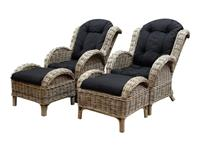 AVH-Outdoor Naturel lounge balkonset 4-delig naturel rotan zwart