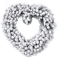 Kerstversiering kerstkrans hart met sneeuw deco 50 cm Wit