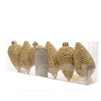 Dennenappel plastic glitter hang 8cm licht goud