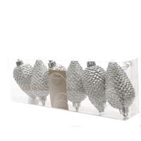 Dennenappel plastic glitter hang 8cm zilver