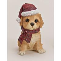 Labrador beeldje met kerstmuts Multi