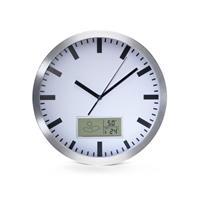 Velleman Wandklok aluminium met thermometer en hygrometer