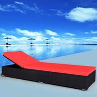 VidaXL Ligbed 195x60x31 cm poly rattan zwart en rood