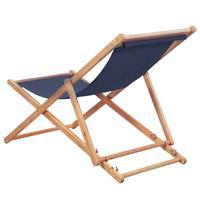 Strandstoel inklapbaar stof blauw